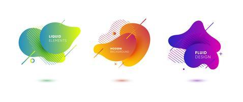 Bandiere astratte di gradiente con le forme liquide scorrenti