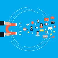 Concetto del mercato di obiettivo, attraendo i clienti, progettazione piana dell'illustrazione di vettore di conservazione del cliente per le insegne e le applicazioni di web