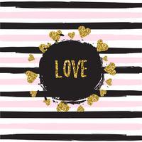 Modello brillante dei cuori dell'oro su fondo a strisce con l'illustrazione di vettore dell'insegna di amore