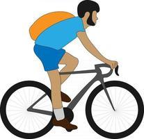uomo in sella a una bicicletta personaggio piatto vettore