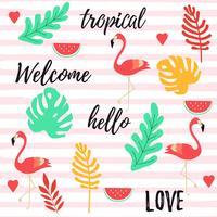 Sfondo tropicale con fenicotteri, anguria e foglie di giungla tropicale