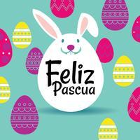 Buona Pasqua o Feliz Pascua Greeting Card vettore