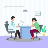 medico parlando al concetto di illustrazione vettoriale paziente