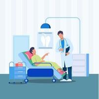 medico che mostra tablet al concetto di illustrazione paziente vettore