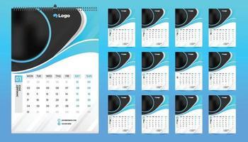 disegno del modello di calendario da parete mensile per il 2022, anno. la settimana inizia di domenica. agenda planner con posto per foto. vettore