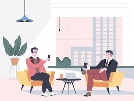 colleghi in pausa in un ufficio moderno con vista sulla città. impiegati che si rilassano, colleghi che bevono caffè, guardano video e si fanno un selfie. illustrazione vettoriale piatta dei cartoni animati con personaggi