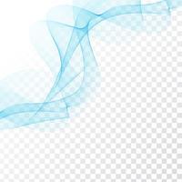 Disegno elegante dell'onda blu astratta su fondo trasparente