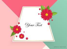 Casella di testo con bellissimi fiori colorati. Illustrazione vettoriale
