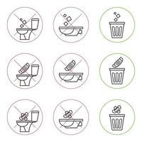 non gettare rifiuti nella toilette. servizi igienici senza spazzatura. mantenendo il pulito. si prega di non sciacquare asciugamani di carta, prodotti sanitari, mascherine mediche. nessun rifiuto, simbolo di avvertimento. icona proibita. vettore
