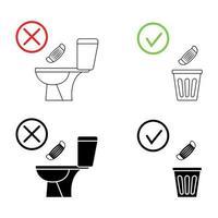 non gettare rifiuti nella toilette. servizi igienici senza spazzatura. mantenendo il pulito. si prega di non sciacquare maschera, prodotti sanitari, icone. icone di divieto. nessun rifiuto, simbolo di avvertimento. icona proibita vettore