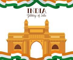 tempio del cancello indiano con bandiera vettore