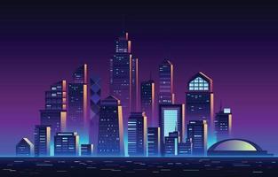 sfondo futuristico della città dell'orizzonte vettore