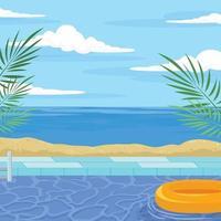 piscina a bordo spiaggia vettore