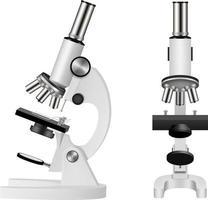 illustrazione realistica del microscopio isolato. vista frontale e laterale vettore