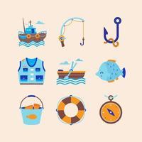 set di icone estive attività di pesca vettore