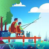 padre e figlio attività di pesca estiva vettore