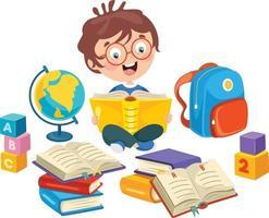ragazzo della scuola che legge libro vettore