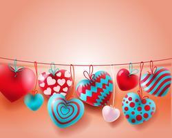 Fondo di giorno di biglietti di S. Valentino con i palloni blu e bianchi rossi concetto dei cuori 3d vettore