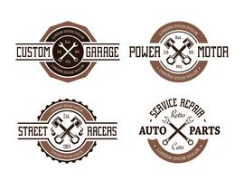 Emblemi automatici in stile retrò vettore