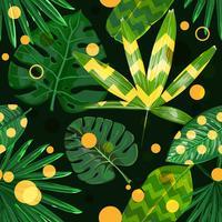 Sfondo senza soluzione di continuità di foglie tropicali e forme geometriche