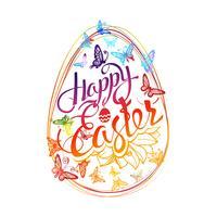 Iscrizione Happy Easter intorno a farfalle multicolori dell'acquerello