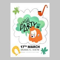 Flyer St. Patrick's Day con carattere irlandese, trifogli, pipa e ferro di cavallo