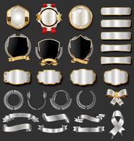 Collezione vintage di distintivi ed etichette vintage nero e oro vettore