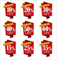 Insieme di offerte e raccolta di banner rosso sconto di vendita