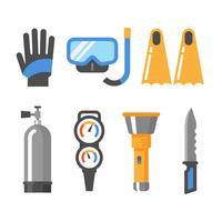 Set di icone piatto di attrezzatura subacquea. Guanti, maschera, boccaglio, pinne, serbatoio d'aria, manometro, torcia elettrica, coltello.