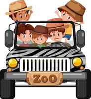 concetto di zoo con gruppo di bambini in macchina isolato su sfondo bianco vettore