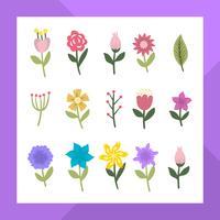 Raccolta moderna piana di clipart del fiore