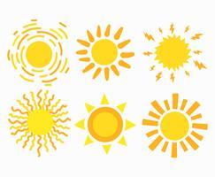 Set di clipart di sole vettore