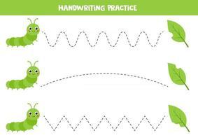 pratica di scrittura a mano per bambini. simpatico bruco verde e foglie morsicate. vettore