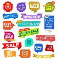 Collezione di banner ed etichette di vendita moderna