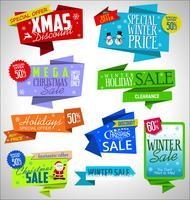 Raccolta di banner e etichette origami vendita moderna vettore