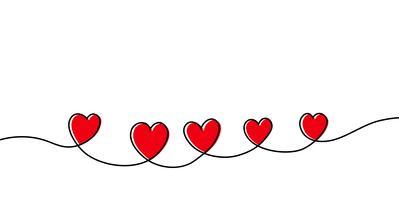 Continuo disegno a tratteggio di cuore rosso isolato su sfondo bianco. Illustrazione vettoriale
