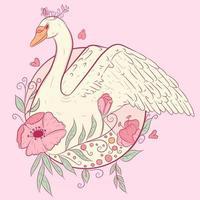 modello di matrimonio e baby shower con un cigno circondato da piante, fiori e foglie. illustrazione estiva di un uccello e un giardino con colori rosa e pastello. animale volante per album di ritagli. vettore