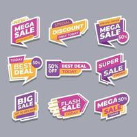 set di adesivi di offerta banner di vendita vettore