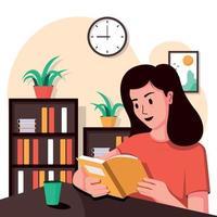 concetto di libro di lettura della ragazza vettore