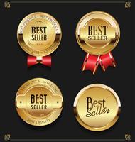 Collezione di eleganti etichette d'oro premium Best seller vettore