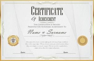 Retro illustrazione di vettore del modello di progettazione del diploma o del certificato