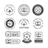 set di etichette in cotone naturale vettore