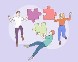 lavoro di squadra, team building, organizzazione aziendale. giovane gruppo di uomini e donne manager personaggi dei cartoni animati cooperano assemblando puzzle jugsaw. vettore
