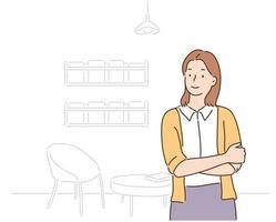 una donna è in piedi con le braccia incrociate. illustrazioni di disegno vettoriale stile disegnato a mano.