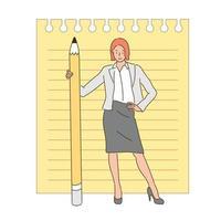 una donna è in piedi con una grande matita. illustrazioni di disegno vettoriale stile disegnato a mano.