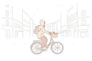 una donna sta andando in bicicletta per strada in una giornata nevosa. illustrazioni di disegno vettoriale stile disegnato a mano.