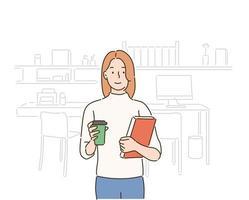 una donna è in piedi con un libro in una mano e un caffè nell'altra. illustrazioni di disegno vettoriale stile disegnato a mano.