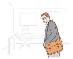 un uomo d'affari in giacca e cravatta lavorerà in ufficio. illustrazioni di disegno vettoriale stile disegnato a mano.