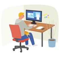 un uomo sta lavorando su un computer e un gatto sta dormendo sulle sue ginocchia. vettore