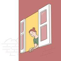 una donna apre la finestra e guarda fuori. illustrazioni di disegno vettoriale stile disegnato a mano.